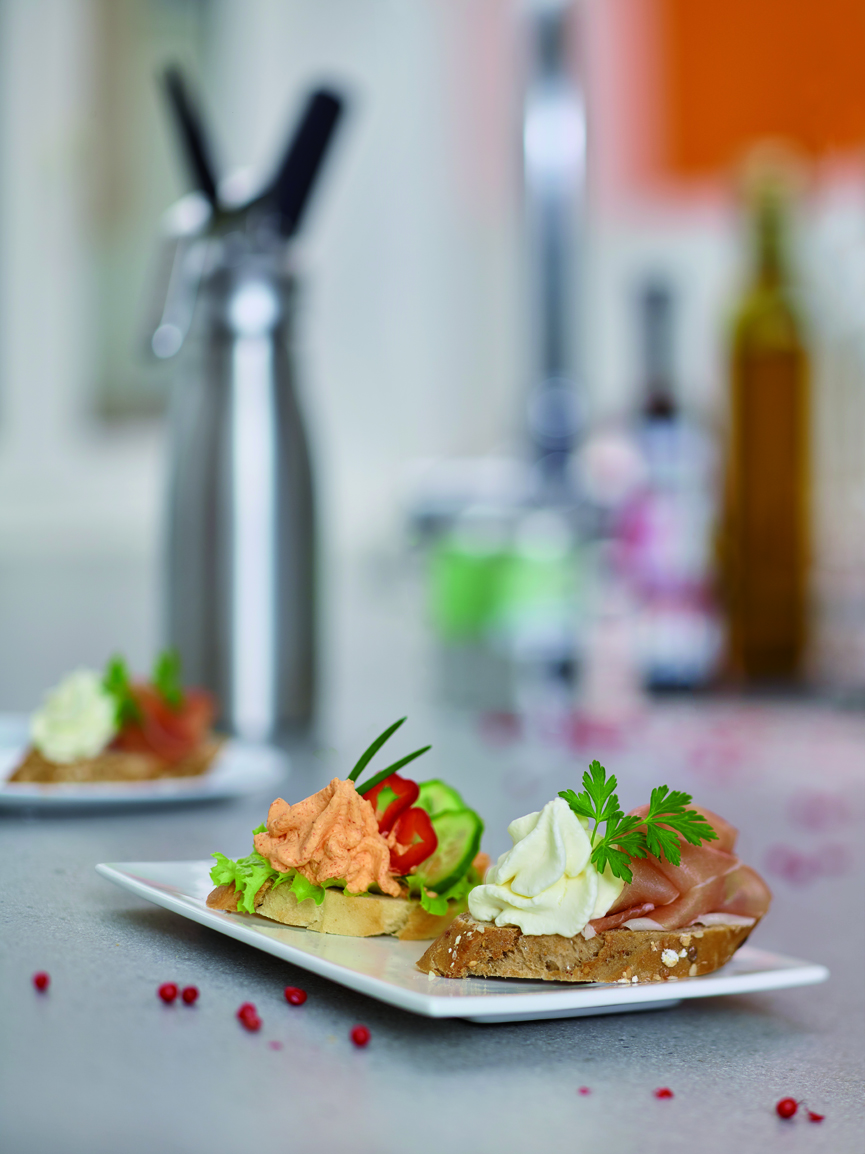Open Sandwiches with Whipped Paprika and Horseradish
